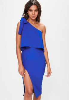 blue-crepe-one-shoulder-bow-sleeve-midi-dress